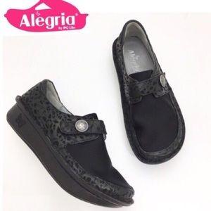 Alegria Den-435 Flats Leather & Fabric Clogs Black